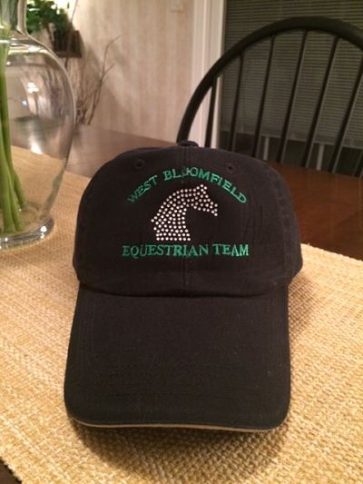 West Bloomfield Baseball Hat - embroidered with rhinestone horse image
