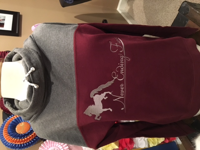 Enza Maroon / Charcoal Cowl Neck Sweatshirt (Never Ending Farm)