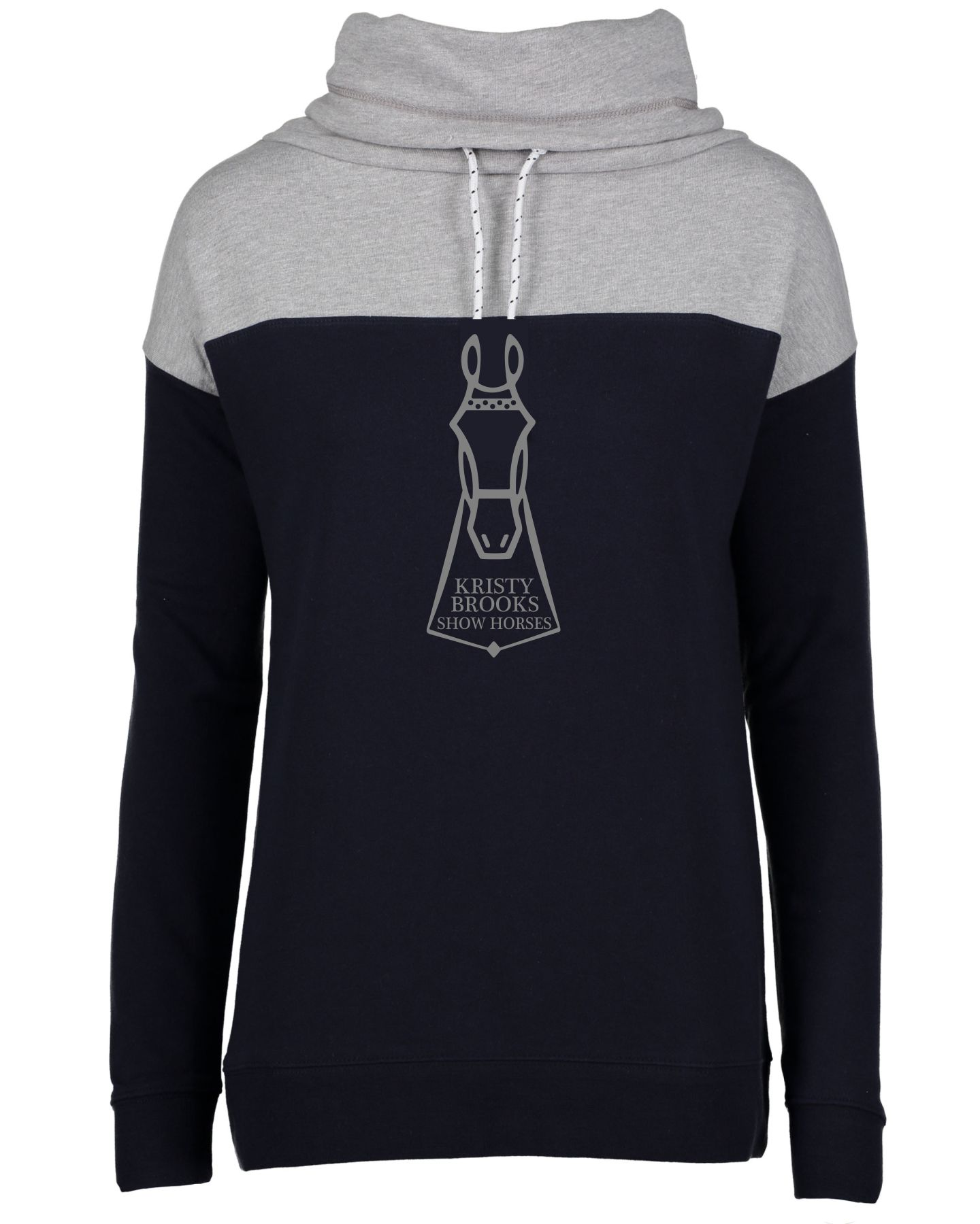 Enza Navy / Charcoal Cowl Neck Sweatshirt (Kristy Brooks)