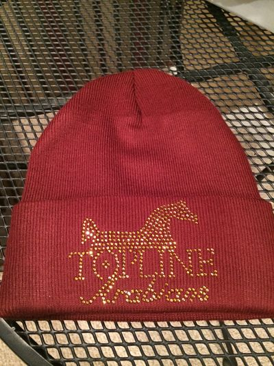 Knit hat - Maroon in color, Rhinestone image